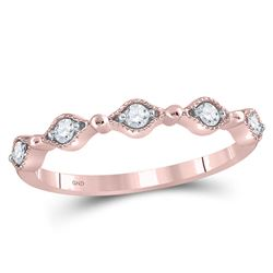 Womens Round Diamond Contour Stackable Band Ring 1/8 Cttw 10kt Rose Gold - REF-15N9F