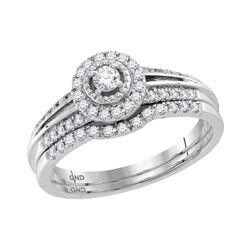 Round Diamond Halo Bridal Wedding Ring Band Set 1/3 Cttw 10kt White Gold - REF-32A5M