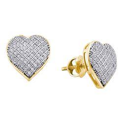 Womens Round Diamond Heart Earrings 1/3 Cttw 10kt Yellow Gold - REF-17N5F