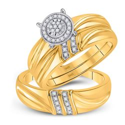 His Hers Round Diamond Cluster Matching Wedding Set 1/10 Cttw 10kt Yellow Gold - REF-30F5W