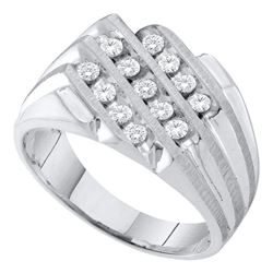 Mens Round Diamond 3-Row Cluster Ring 1/2 Cttw 10kt White Gold - REF-36A5M