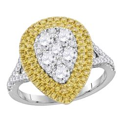 Womens Round Yellow Diamond Cluster Ring 1-3/4 Cttw 18kt White Gold - REF-236M9H