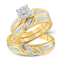 His Hers Round Diamond Cluster Matching Wedding Set 1/3 Cttw 10kt Yellow Gold - REF-46X5A