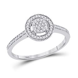 Womens Round Diamond Circle Frame Cluster Ring 1/5 Cttw 10kt White Gold - REF-13N9F