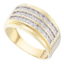 Mens Round Diamond Triple Row Band Ring 1/2 Cttw 10kt Yellow Gold - REF-38H9R
