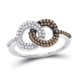 Womens Round Brown Diamond Linked Circles Ring 1/3 Cttw 10kt White Gold - REF-16X5A