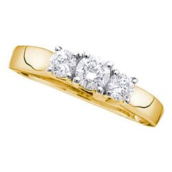 Round Diamond 3-stone Bridal Wedding Engagement Ring 1/2 Cttw 14kt Yellow Gold - REF-42Y5N