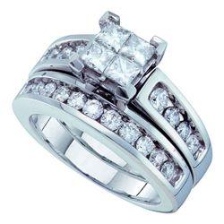 Princess Diamond Bridal Wedding Ring Band Set 1-1/2 Cttw 14kt White Gold - REF-145N5F
