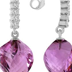 Genuine 21.65 ctw Amethyst & Diamond Earrings 14KT White Gold - REF-56N3R