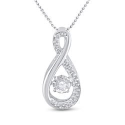 Womens Round Diamond Moving Twinkle Teardrop Pendant 1/20 Cttw 10kt White Gold - REF-12K9Y