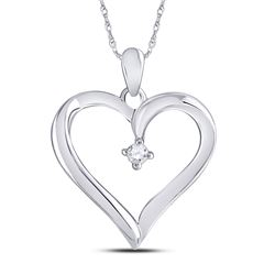 Womens Round Diamond Solitaire Heart Pendant 1/20 Cttw 10kt White Gold - REF-8M9H