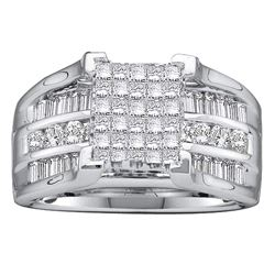 Princess Diamond Cluster Bridal Wedding Engagement Ring 1-1/2 Cttw 14kt White Gold - REF-126K9Y