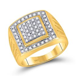 Mens Round Diamond Square Cluster Ring 1/2 Cttw 10kt Yellow Gold - REF-38X5A