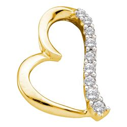 Womens Round Diamond Heart Pendant 1/4 Cttw 14kt Yellow Gold - REF-21H5R