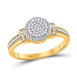 Womens Round Diamond Circle Cluster Ring 1/6 Cttw 10kt Yellow Gold - REF-16W9K