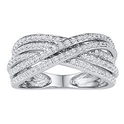 Womens Round Diamond Crossover Five Row Band Ring 5/8 Cttw 10kt White Gold - REF-30X5A