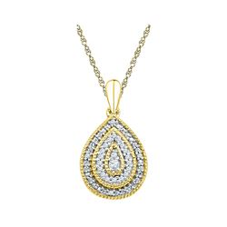 Womens Round Diamond Concentric Teardrop Pendant 1/10 Cttw 10kt Yellow Gold - REF-10N5F