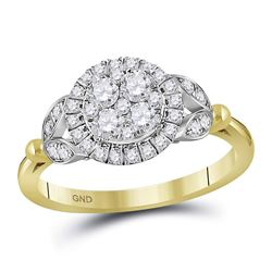 Round Diamond Cluster Bridal Wedding Engagement Ring 3/4 Cttw 14kt Yellow Gold - REF-54H5R