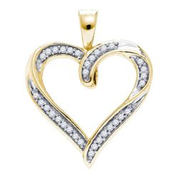Womens Round Diamond Heart Outline Pendant 1/10 Cttw 10kt Yellow Gold - REF-10Y5N