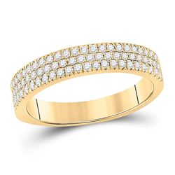 Womens Round Diamond Pave Band Ring 1/2 Cttw 10kt Yellow Gold - REF-36N9F