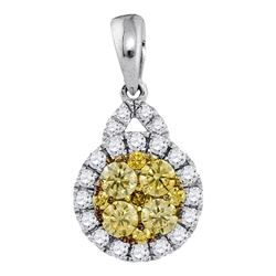 Womens Round Yellow Diamond Circle Cluster Pendant 5/8 Cttw 14kt White Gold - REF-49F9W