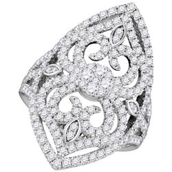 Round Diamond Cluster Bridal Wedding Engagement Ring 1-1/2 Cttw 14kt White Gold - REF-122Y5N