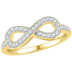 Womens Round Diamond Infinity Ring 1/5 Cttw 10kt Yellow Gold - REF-14M9H