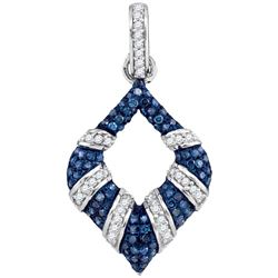 Womens Round Blue Color Enhanced Diamond Tapered Fashion Pendant 1/3 Cttw 10kt White Gold - REF-21F5