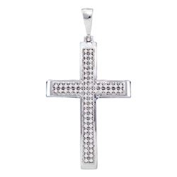 Womens Round Diamond Medium Cross Pendant 1/5 Cttw 10kt White Gold - REF-14Y9N