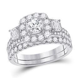 Round Diamond Bridal Wedding Ring Band Set 2 Cttw 14kt Two-tone Gold - REF-200Y5N