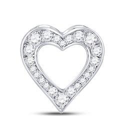 Womens Round Diamond Outline Heart Pendant 1/5 Cttw 10kt White Gold - REF-10R5X