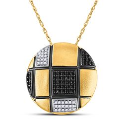 Womens Round Black Color Enhanced Diamond Circle Necklace 1/3 Cttw 14kt Yellow Gold - REF-43R5X