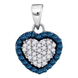 Womens Round Blue Color Enhanced Diamond Heart Pendant 1/3 Cttw 10kt White Gold - REF-10A5M