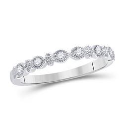 Womens Round Diamond Milgrain Stackable Band Ring 1/10 Cttw 14kt White Gold - REF-17W5K
