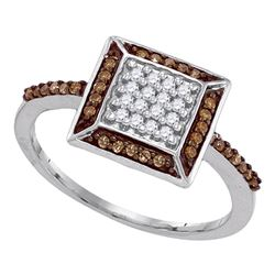 Womens Round Brown Diamond Square Frame Cluster Ring 1/4 Cttw 10kt White Gold - REF-14Y5N