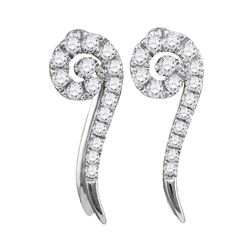 Womens Round Diamond Curled Vertical Stud Earrings 1/4 Cttw 10kt White Gold - REF-17K5Y