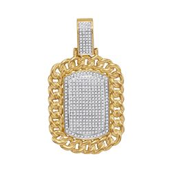 Mens Round Diamond Cuban Link Outline Dog Tag Cluster Charm Pendant 7/8 Cttw 10kt Yellow Gold - REF-