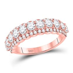Womens Round Diamond Anniversary Band Ring 1-3/4 Cttw 14kt Rose Gold - REF-115Y9N