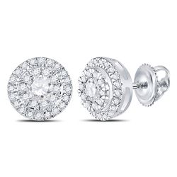 Womens Round Diamond Circle Cluster Stud Earrings 1/2 Cttw 10kt White Gold - REF-39M5H