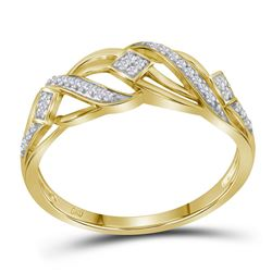 Womens Round Diamond Crossover Open Band Ring 1/10 Cttw 10kt Yellow Gold - REF-13R5X