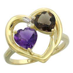 2.61 CTW Diamond, Amethyst & Quartz Ring 10K Yellow Gold - REF-23M7K