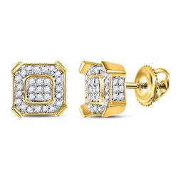 Mens Round Diamond Square Cluster Earrings 1/2 Cttw 14kt Yellow Gold - REF-30N5F