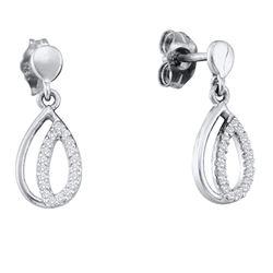 Womens Round Diamond Dangle Earrings 1/10 Cttw 10kt White Gold - REF-10W5K