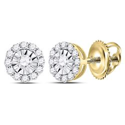 Womens Round Diamond Halo Earrings 1/2 Cttw 14kt Yellow Gold - REF-32K5Y