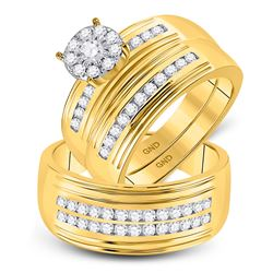His Hers Round Diamond Solitaire Matching Wedding Set 1 Cttw 10kt Yellow Gold - REF-71K9Y