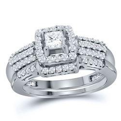 Princess Diamond Bridal Wedding Ring Band Set 7/8 Cttw 14kt White Gold - REF-89X5A