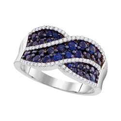 Womens Round Blue Sapphire Crossover Band Ring 1-1/2 Cttw 10kt White Gold - REF-31F5W