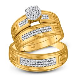 His Hers Round Diamond Cluster Matching Wedding Set 1/3 Cttw 10kt Yellow Gold - REF-38Y9N