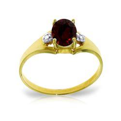 Genuine 0.76 ctw Garnet & Diamond Ring 14KT Yellow Gold - REF-20H8X