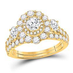 Round Diamond Bridal Wedding Ring Band Set 2 Cttw 14kt Yellow Gold - REF-197H5R